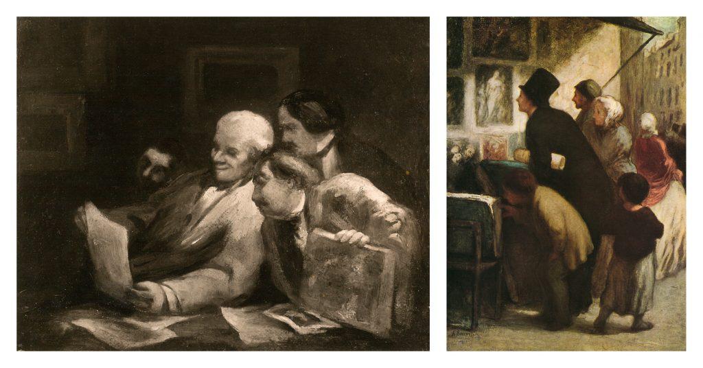 Reproduktion von gemälden von Honoré Daumier: Die Sammler (links); Ohne Titel (rechts)