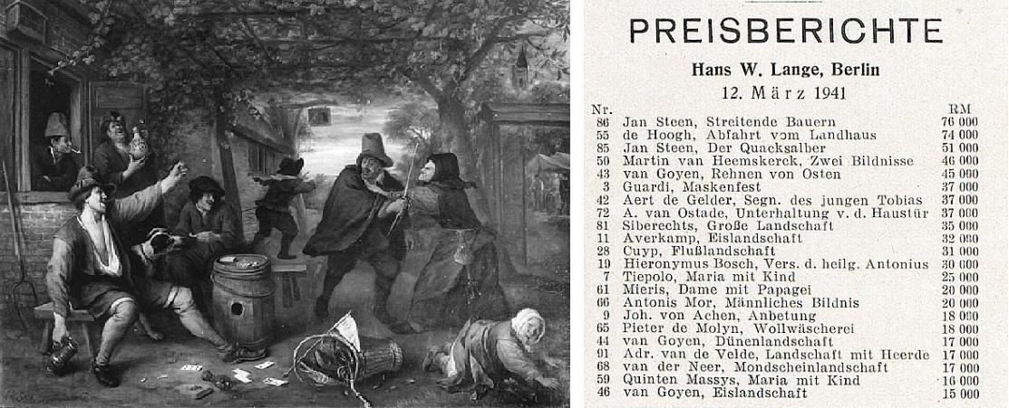 links: Jan Steen: Streitende Bauern, 1671, Öl auf Holz, 52 x 71 cm © Origins unknown Agency; rechts: Weltkunst Nr. 11/12 (16. März 1941), S. 3: Preisbereichte © Universitätsbibliothek Heidelberg, Heidelberger historische Bestände - digital